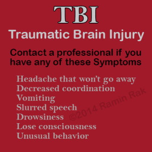 Ramin Rak's symptoms of TBI